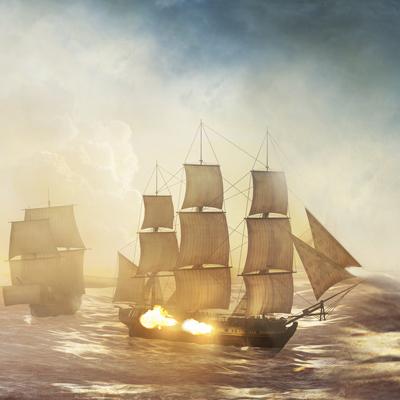 Военный корабль, бой.