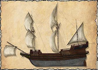 Галеон — хорошо вооружённый корабль, способный взять на борт большое количество груза. Галеоны прославились как корабли, привозившие в Испанию американское золото, но они отлично зарекомендовали себя и в торговле с Ост-Индией. Галеоны появились и активно развивались в 16-м веке. К 18-му веку, на фоне ост-индских торговых судов и линейных кораблей, они несколько устарели. Шебека
