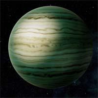 """Большой газовый гигант Дранен, обращающийся вокруг бледно-желтой звезды за """"границей замерзания"""", знаменит своими эффектными ураганами. На поверхности замечены как минимум три постоянных """"пятна"""" - ураганы-циклоны и антициклоны, которые держатся уже более 544 лет. Этот срок сильно превышает срок существования Большого Красного Пятна на Юпитере."""