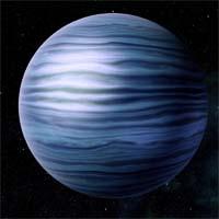Гевс - метано-аммиачный газовый гигант, брат-близнец Узина. Его бледно-голубая поверхность не имеет никаких отличительных черт.