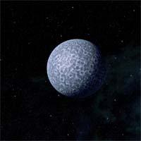 Холодная поверхность расположенного далеко от светила Грегаса состоит на 65% из камня и на 35% из замерзшего метана и азота.