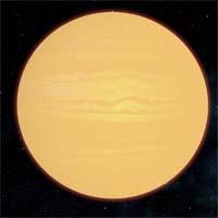 """Решель - большая планета класса """"горячий юпитер"""", газовый гигант, делающий оборот вокруг звезды Сатент за четыре с половиной дня."""