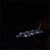 """Обнаруженный корабль опознан как """"Стронциевый мул"""". Корабль лежит в дрейфе, обшивка повреждена орудийным огнем. Несмотря на признаки жизни на борту, корабль не отвечает на наш вызов. Определен тип шифрования исходящего сигнала - """"Синие светила"""". Воздушные шлюзы запечатаны, однако проникнуть в корабль можно через аварийный люк в грузовом отсеке."""