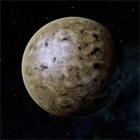 Поверхность Тайтуса представляет собой огромную пустыню, состоящую из белых калиевых солей и рыжих оксидов железа.