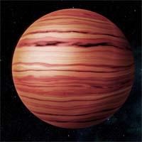 Тешаб - первый и крупнейший из двух газовых гигантов в системе Эты Хокинга. По большей части он состоит из водорода и гелия, бурые и оранжевые пятна в верхних слоях атмосферы возникают из-за примесей серы.